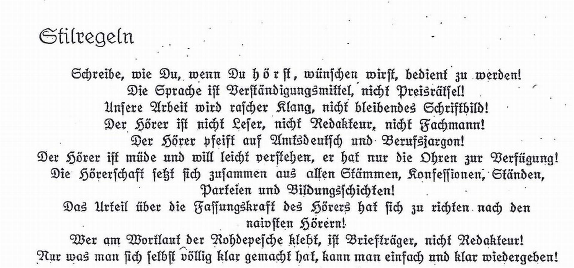 """Auszug aus Josef Räuschers Stilregeln für den """"Drahtlosen Dienst"""" 1928"""
